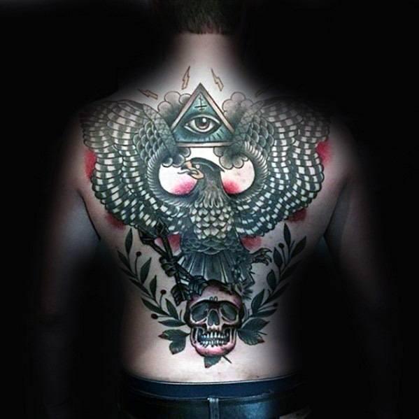 Skull Back Tattoos For Gentlemen