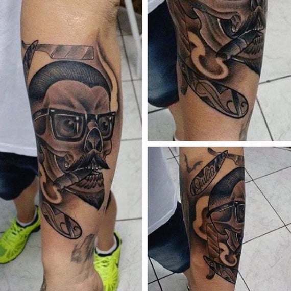 Skull Barber Cutting Hair Guys Tattoos