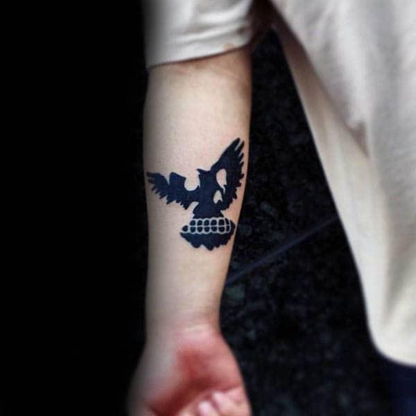 Skull Bird Mens Silhouette Inner Forearm Tattoos