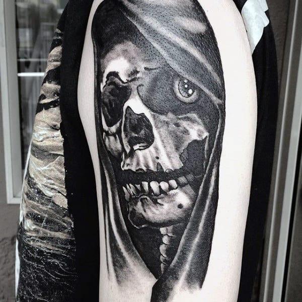 Skull Black Grim Reaper Tattoos For Males On Upper Arm
