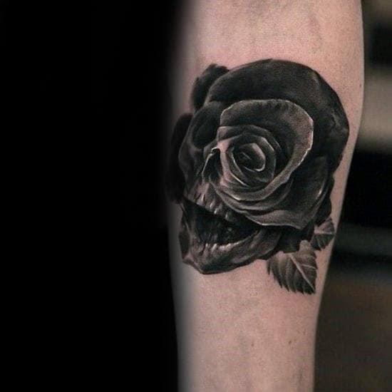 Skull Black Rose Optical Illusion Mens Tattoos
