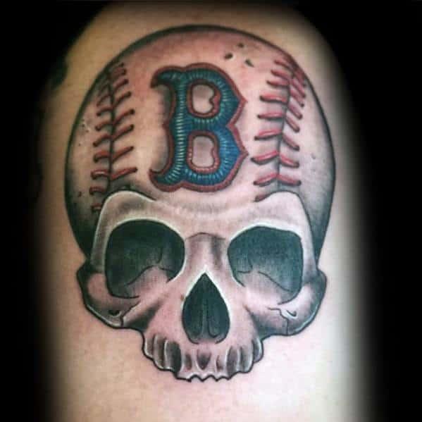Skull Boston Red Sox Tattoo Design On Man