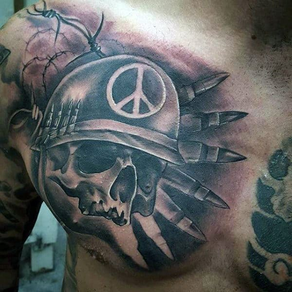 Skull Bullet Army Upper Chest Male Tattoos