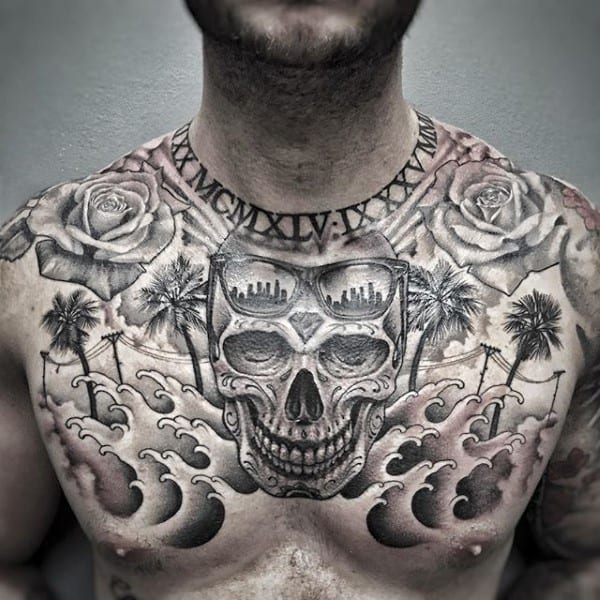 Skull California Mens Upper Chest Tattoo Designs