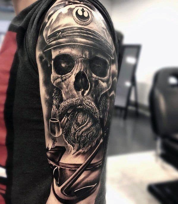 Skull Captain With Anchor Mens Unique Half Sleeve Tattoos