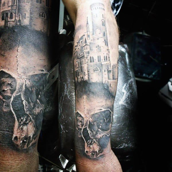 Skull Castle Lower Arm Half Sleeve Design Tattoo For Guys