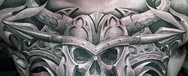 Skull Chest Tattoo Designs For Men