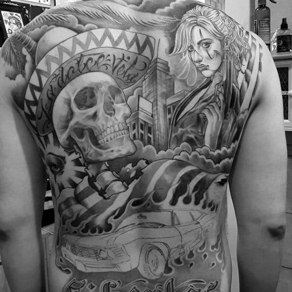 Skull Chicano Male Back Tattoo