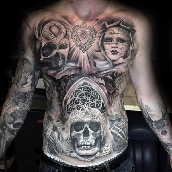 Skull Church Window Guys Full Chest Chicano Shaded Tattoo