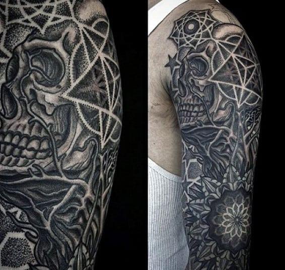 Skull Circular Sacred Geometry Tattoos For Males