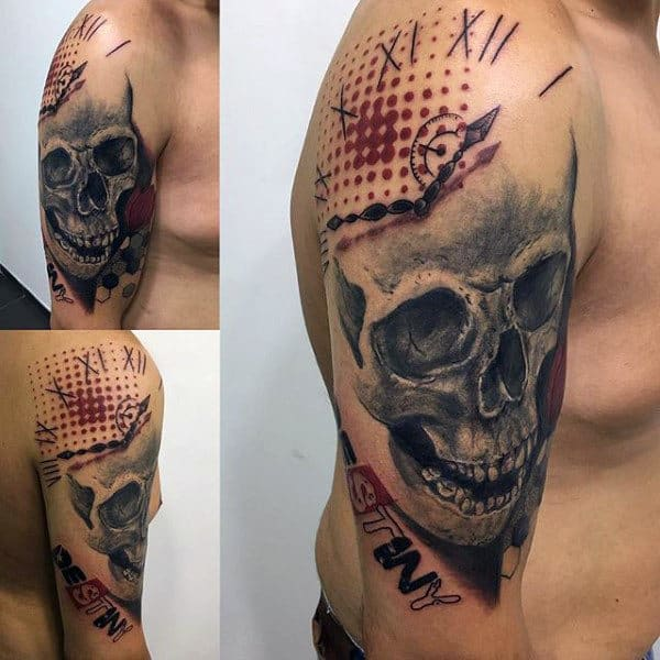 Skull Clock Male Trash Polka Upper Arm Tattoo Designs