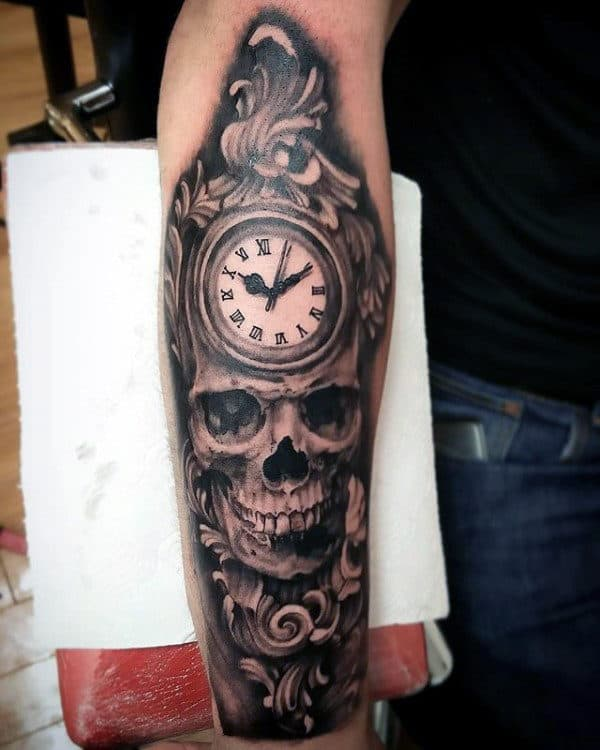 Skull Clock Mens Filigree Forearm Tattoo Design Inspiration