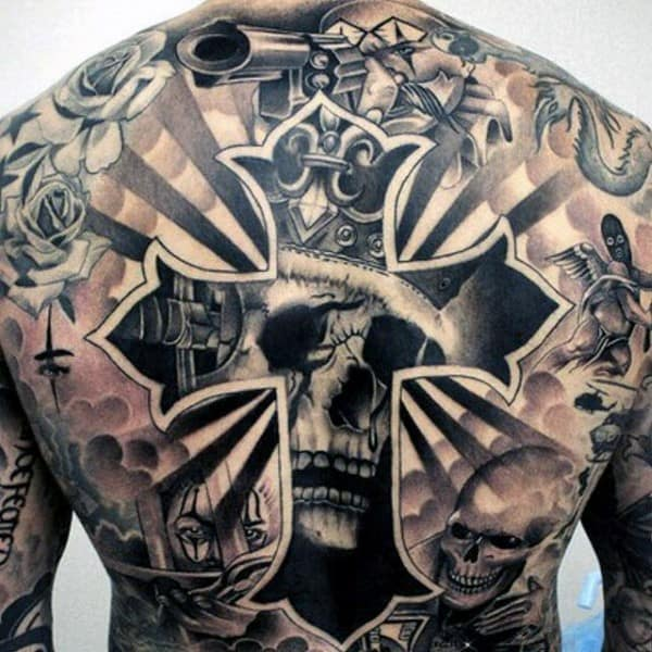 Skull Cross Chicano Mens Back Tattoos