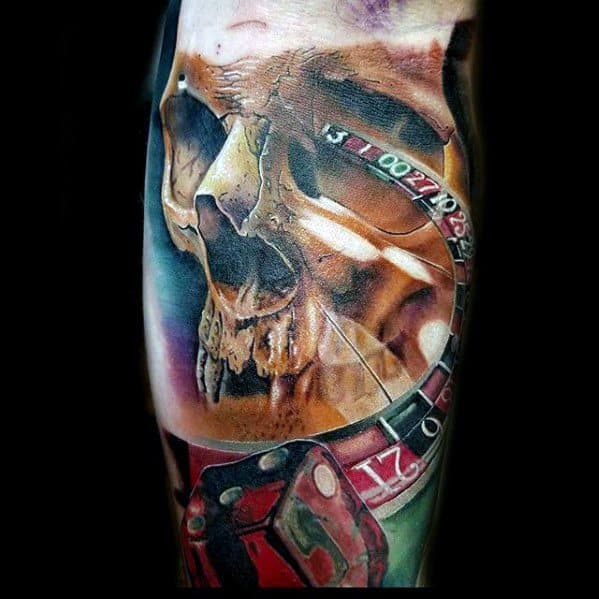 Skull Dice Forearm Rad Male Tattoos