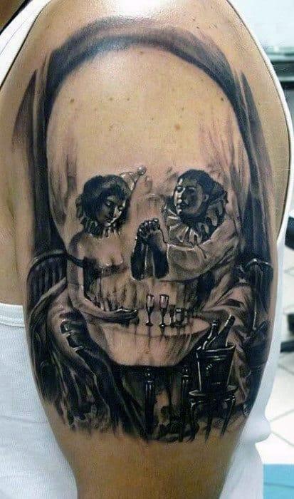 Skull Dinner Table Optical Illusion Mens Upper Arm Tattoos