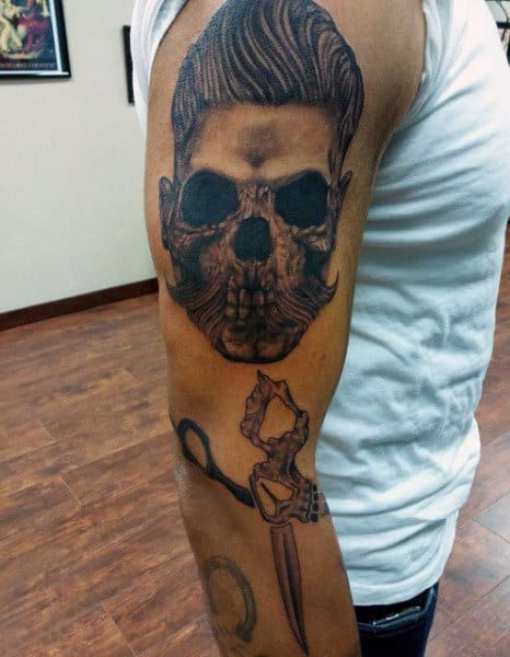 Skull Face And Scissors Upper Arm Mens Tattoos