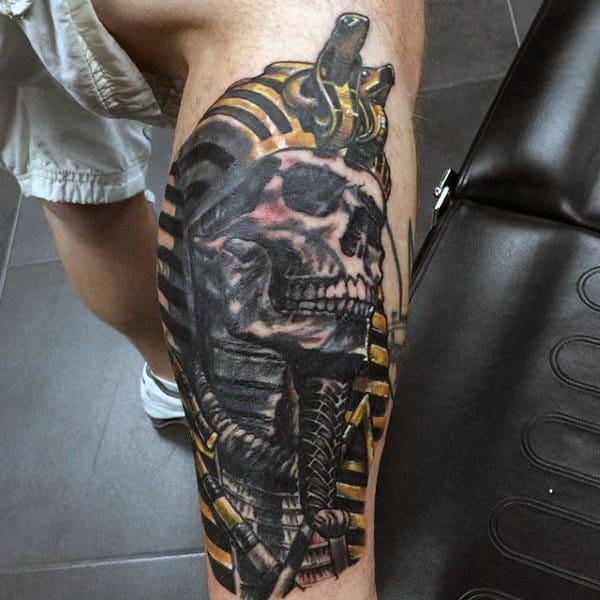 Skull Faced King Tut Mens Leg Tattoos