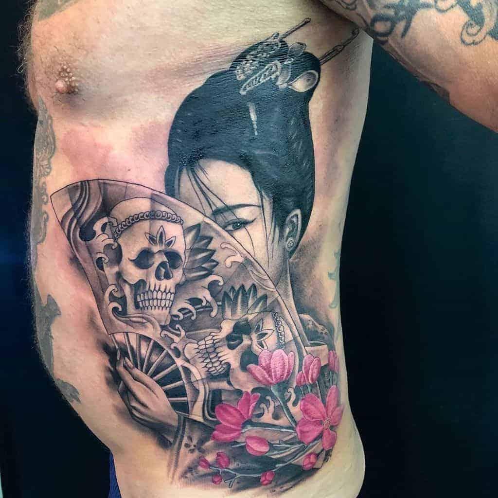 skull-fan-amazing-geisha-tattoo