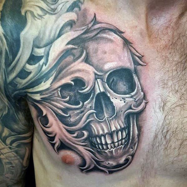 Skull Filigree Chest Tattoo For Males