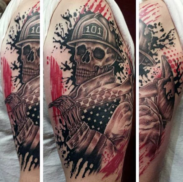 Skull Firefighter Brotherhood Tattoos Men