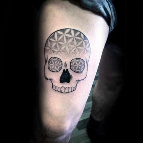 Skull Flower Of Life Mens Thigh Tattoos