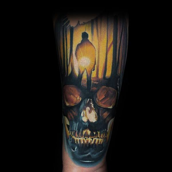 Skull Forest Coolest Tattoos For Men On Forearm