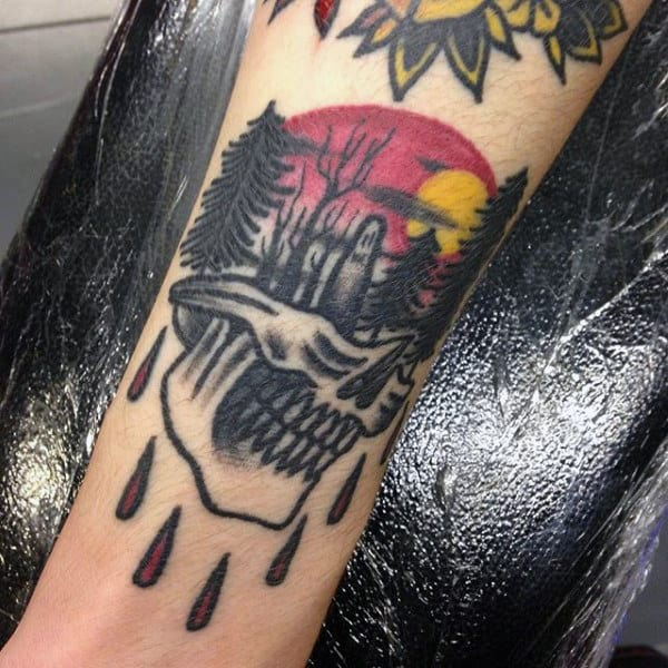 Skull Forest Sundown Guys Forearm Tattoos