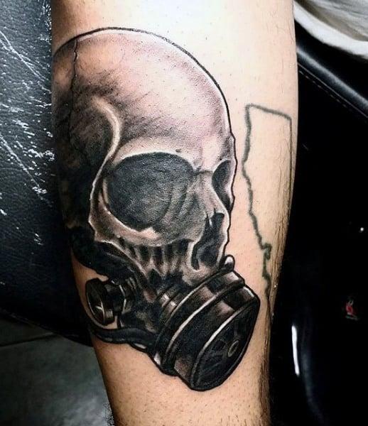 Skull Gas Mask Tattoo For Men