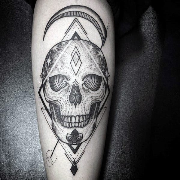 Skull Geometric Back Of Leg Male Tarot Tattoo Ideas