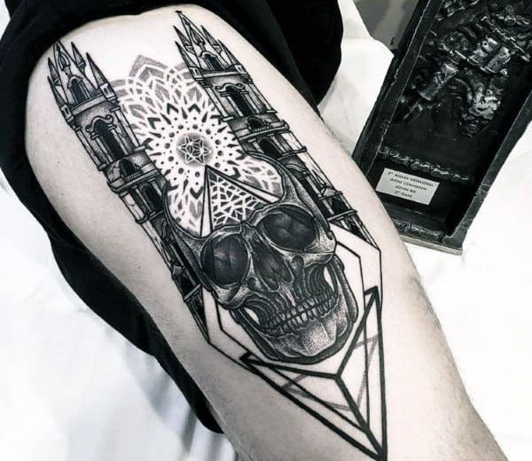 Skull Geometric Building Mens Thigh Tattoos