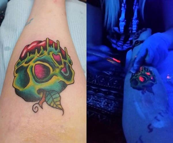 Skull Glow In The Dark Male Tattoo Design Ideas