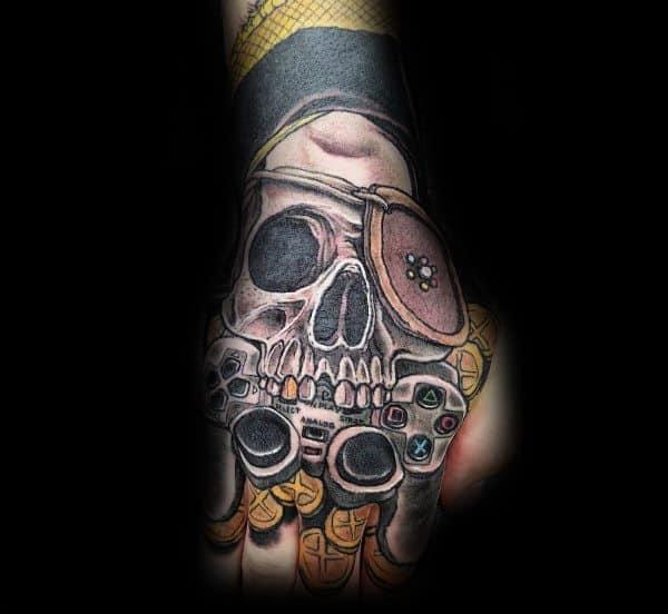Skull Goonies Hand Tattoo