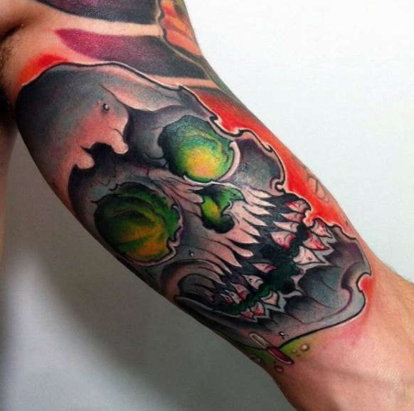 Skull Graffiti Glowing Green Eyes Mens Arm Tattoo