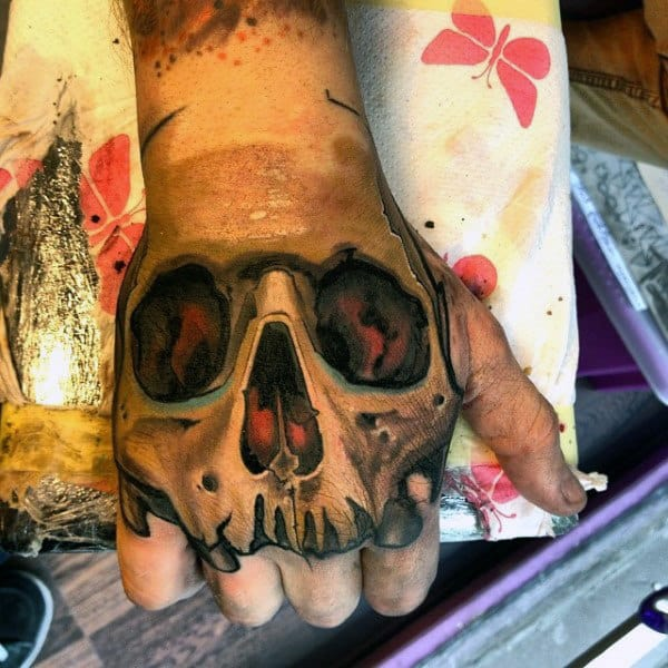 Skull Graffiti Mens Hand Tattoos