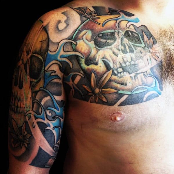 Skull Guys Sleeves Tattoos Designs Japanese Style