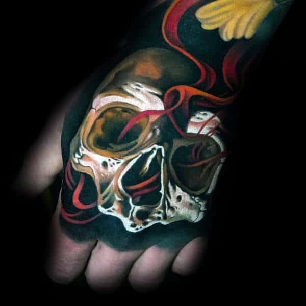Skull Hand 3d Mens Coolest Tattoos