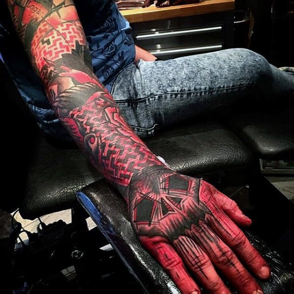 Skull Hand And Sleeve Red Ink Tattoos For Guys