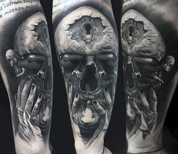Skull Hands Portrait Optical Illusion 3d Coolest Arm Tattoos For Men