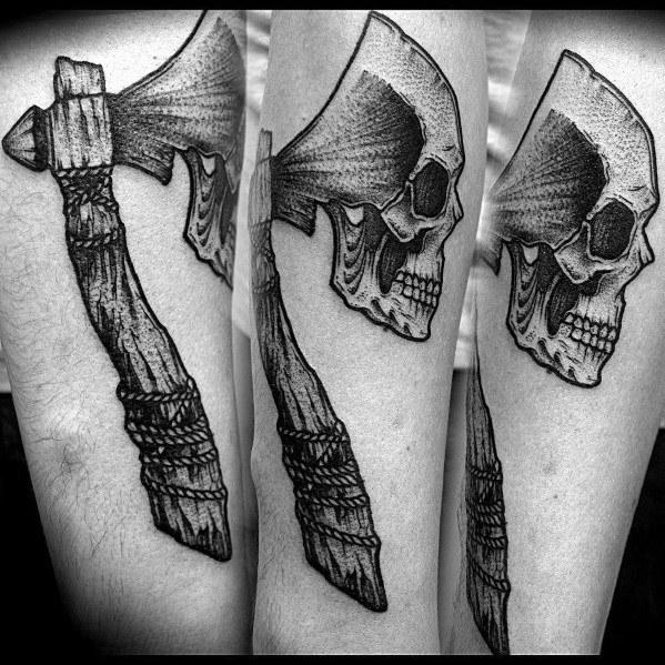 Skull Hatchet Tattoo Designs For Gentlemen