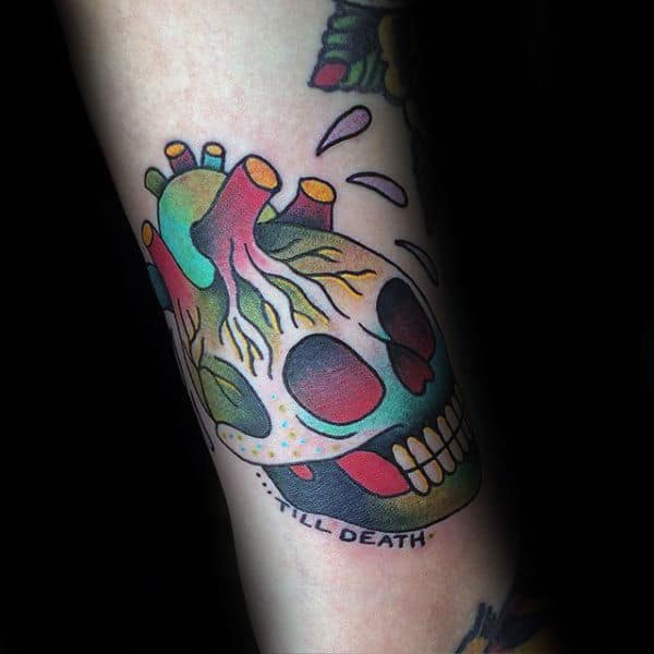 Skull Heart Guys Traditional Forearm Tattoos
