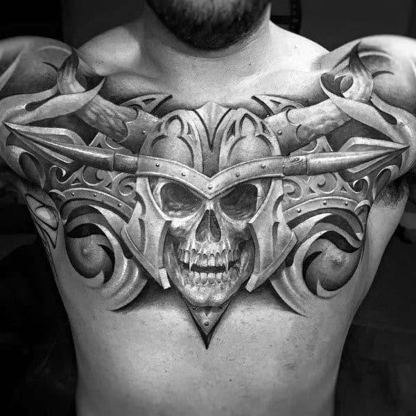 Skull Helmet 3d Chest Coolest Tattoos For Men