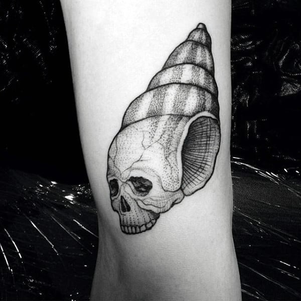 Skull Horn Snail Seashell Tatoo For Males