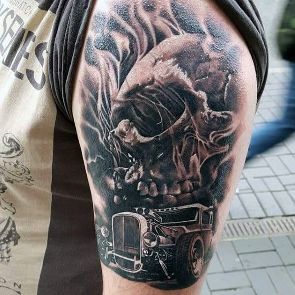 Skull Hot Rod Tattoo Grey Male Arms