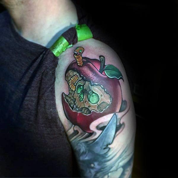 Skull In Apple New School Tattoo Male Arms
