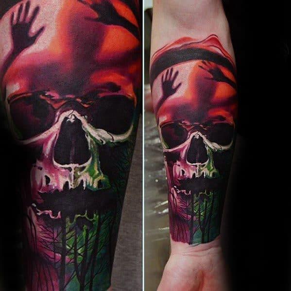 Skull Inner Forearm Sleeve Mens Tattoo With Great Design