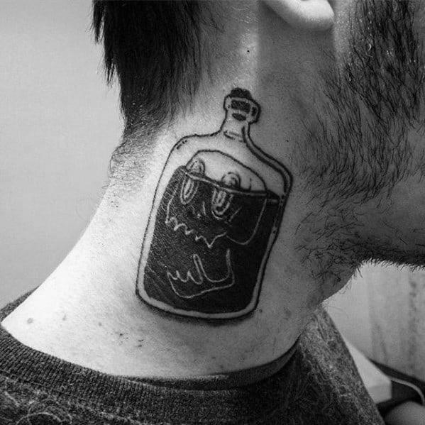 Skull Inside Bottle Mens Black Ink Neck Traditional Tattoo