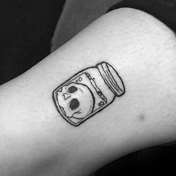 skull-inside-glass-jar-mens-simple-arm-tattoos