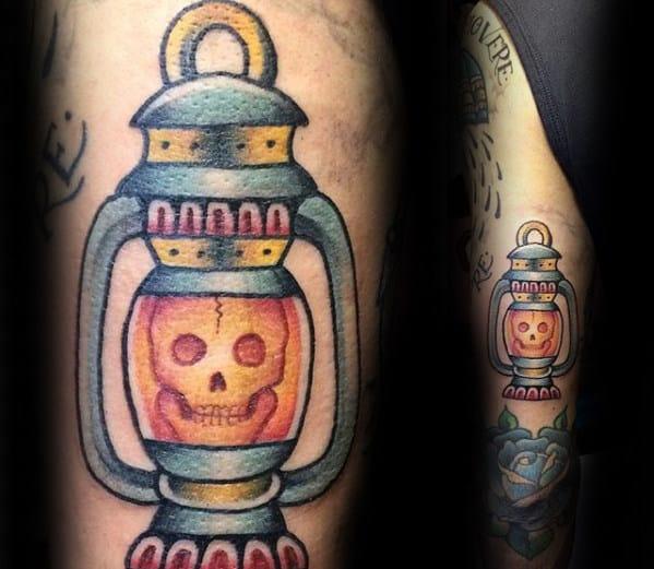 Skull Inside Lantern Mens Traditional Back Of Arm Tattoo