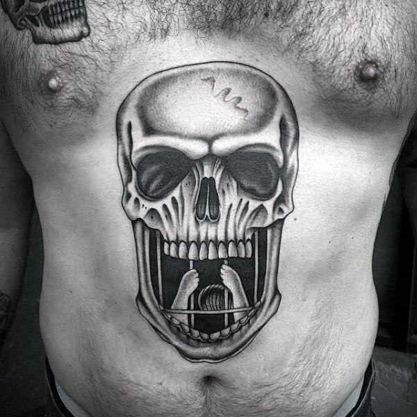 Skull Jail Cell Bars Upper Stomach Tattoos For Men