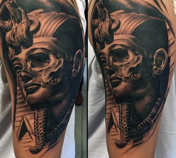Skull King Tut Mens Masculine Half Sleeve Tattoo Design Ideas With Shaded Ink